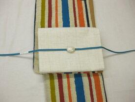 送料無料 女性用・レディース浴衣・ 紗京袋帯・綿麻浴衣4点セット 縞柄浴衣