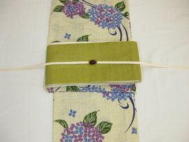 紫陽花(藤色)浴衣帯留4点セット-きびら麻細帯−鶯色