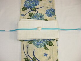 古典柄・女性 浴衣 紫陽花柄浴衣(ブルー)細帯 帯留4点セット・紗細帯