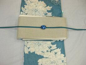 女性用・レディース浴衣 古典柄(牡丹)ブルー浴衣細帯 帯留4点セットA 生成り麻細帯