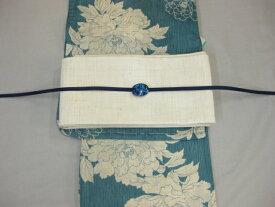 女性 レディース浴衣 古典柄ブルー浴衣細帯 帯留4点セットA−紗細帯