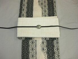 女性 レディース浴衣 黒色・縞麻の葉浴衣細帯 帯留4点セット-紗細帯