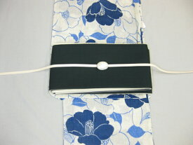 女性 レディース浴衣 古典柄 椿模様浴衣細帯 帯留4点セット-紺細帯