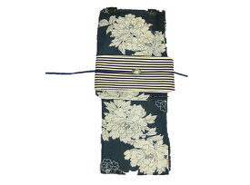 女性用・レディース浴衣 紺地牡丹柄浴衣・縞細帯・帯留 帯締め4点セット