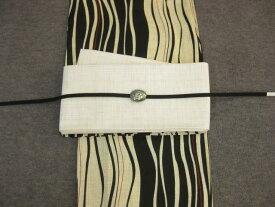 女性用・レディース浴衣・よろけ縞柄浴衣細帯 帯留4点セット-細帯