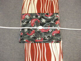 レディース浴衣・送料無料 しゃれ袋帯(鯉・黒/赤)と綿麻浴衣4点セット・よろけ縞エンジゆかた