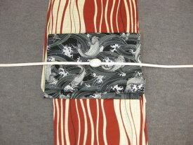 レディース浴衣・送料無料 しゃれ袋帯(鯉)と綿麻浴衣4点セット・よろけ縞エンジゆかた
