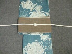 女性 レディース浴衣 古典柄ブルー浴衣細帯 帯留4点セットA 茶色きびら麻細帯