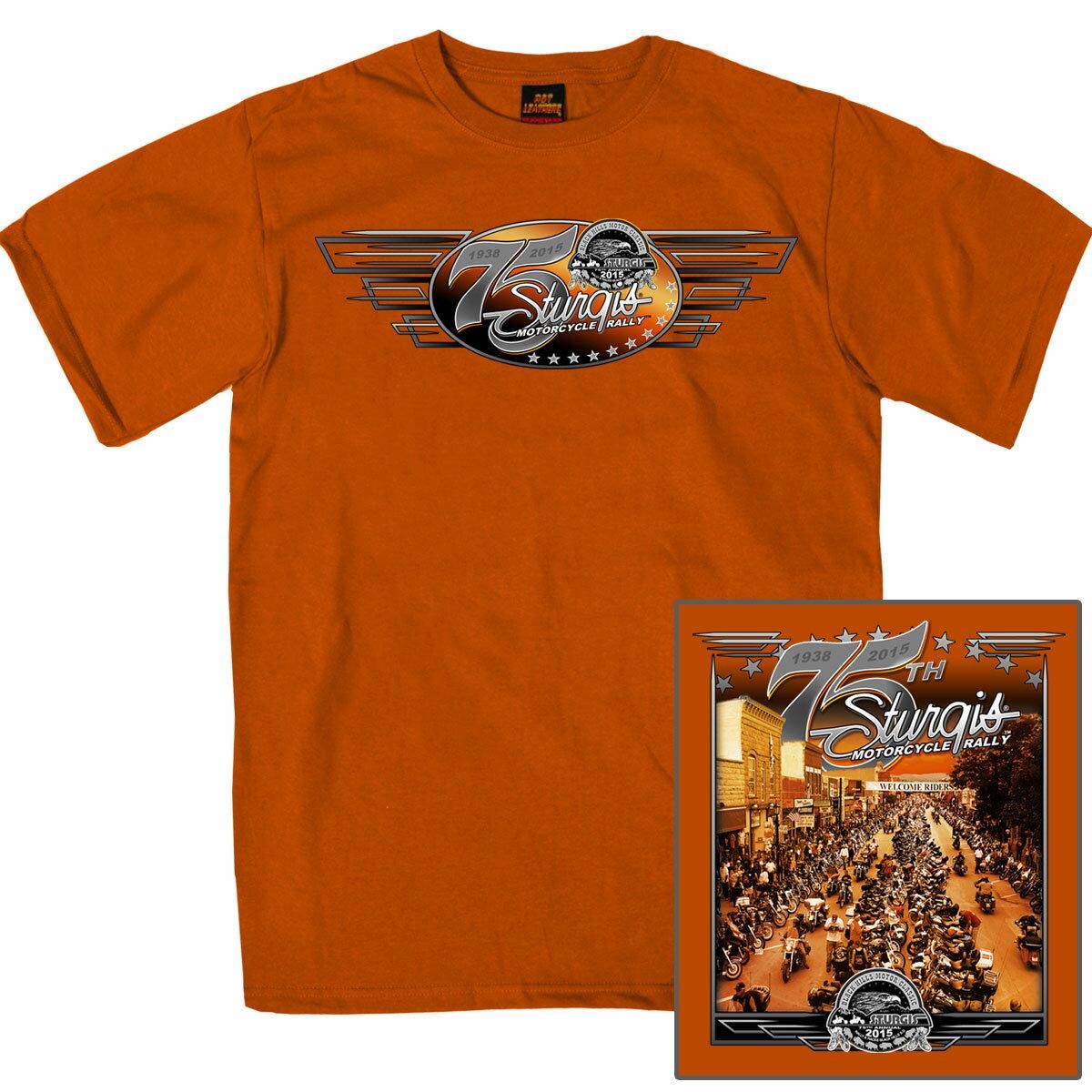 【送料無料!】 限定価格!米国ハーレーの祭典「スタージス」公式75周年イーグル バイカー 半袖 Tシャツ! アメカジ バイカー! バイクに! ハーレーダビッドソン乗り愛用 オレンジ