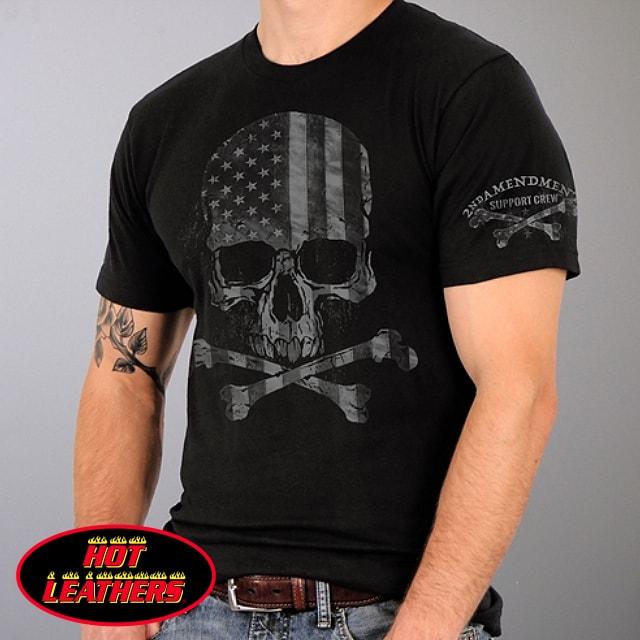 【送料無料!(条件あり)】日本未発売! セール価格! ホットレザー [Faded Skull Flag Military Men's T-Shirt] フェイデッド・スカル・フラッグ・ミリタリー・メンズ・Tシャツ! 半袖 半袖シャツ! 米国 HOTLEATHERS 直輸入! ブラック 黒 英字 プリントT