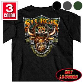 【送料無料!】日本未発売! セール価格! ホットレザー ハーレーの祭典スタージス [Sturgis Motorcycle Rally] 公認 Official 2018モデル 全3色! [Men's Buffalo Crazy T-Shirt] メンズ 半袖 バッファロークレイジー Tシャツ! 米国直輸入! 牛 78th Logo