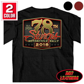 【送料無料!】日本未発売! セール価格! ホットレザー ハーレーの祭典スタージス [Sturgis Motorcycle Rally] 公認 Official 2018モデル 全2色! [Men's 78th Logo T-Shirt] メンズ 半袖 78周年記念 ロゴ Tシャツ! 米国直輸入! ブラック カーディナルレッド