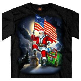 【送料無料!】日本未発売! セール価格! ホットレザー [Patriotic Santa American Flag Men's T-Shirt] パトリオティックサンタ アメリカンフラッグ メンズ Tシャツ! 半袖 半袖シャツ! 米国 HOTLEATHERS 直輸入! ブラック 黒 サンタクロース クリスマス プリントT バイクに!
