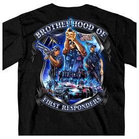 【送料無料!】日本未発売! セール価格! ホットレザー [Brotherhood of First Responders Police Men's T-Shirt] ブラザーフッドオブファーストレスポンダーズ ポリス メンズ Tシャツ! 半袖 半袖シャツ! 米国 HOTLEATHERS 直輸入! 警察官 ブラック 黒 プリントT バイクに!