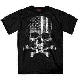 【送料無料!】日本未発売! セール価格! ホットレザー [Flag Skull Men's T-Shirt] フラッグスカル メンズ Tシャツ! 半袖 半袖シャツ! 米国 HOTLEATHERS 直輸入! ブラック 黒 骸骨 クロスボーン ドクロ 星条旗 プリントT バイクに!