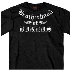 【送料無料!】日本未発売! セール価格! ホットレザー [Brotherhood of Bikers Men's T-Shirt] ブラザーフッドオブバイカーズ メンズ Tシャツ! 半袖 半袖シャツ 米国 HOTLEATHERS 直輸入! ブラック 黒 英字 フェザー バイカー アメカジ プリントT バイクに!