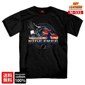 【送料無料!】日本未発売! セール価格! 米国直輸入! ホットレザー [Flag Bike Men's T-Shirt] フラッグバイク メンズ Tシャツ! 半袖 ブラック 黒 イーグル 星条旗 POWMIA アメリカン プリントT Hot Leathers スクリーンプリント 大きいサイズ バイクに!