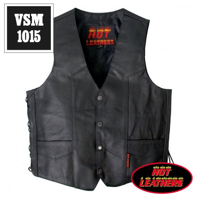 【送料無料!(条件あり)】日本未発売!米国直輸入! ホットレザー 本革 サイドレースアップ ブラック レザーベスト! ウエスト調節可能な両側編み上げスタイル! 黒 カウハイドレザー メンズ [Cowhide Leather Vest] ベスト用アクセサリーに対応! バイクに! 大きいサイズ