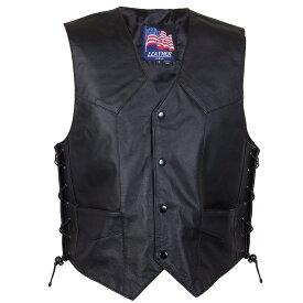 【送料無料!】日本未発売!米国直輸入! USA LEATHER 本革 [Men's 201L Classic Style Black Leather Side Lace Vest] メンズ クラシックスタイル ブラックレザー サイドレースベスト! 編み上げ 黒 レースアップ ベスト用アクセサリーに対応! バイカー バイクに! 大きいサイズ