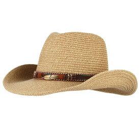 【送料無料!】全3色! [Alloy Feather Beads Belt Western Cowboy Hat] アロイフェザー・ビーズベルト・ウェスタン・カウボーイハット! 帽子 テンガロンハット ストローハット 麦わら帽子 つば広 ソンブレロ サンキャップ 日焼け防止 男女兼用 バイクに! バイカー