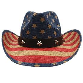 【送料無料!】[American Flag Star Studs Belt Western Cowboy Hat] アメリカンフラッグ・スタースタッズベルト・ウェスタン・カウボーイハット! 帽子 テンガロンハット ストローハット 麦わら帽子 つば広 ソンブレロ サンキャップ 日焼け防止 男女兼用 バイクに! バイカー