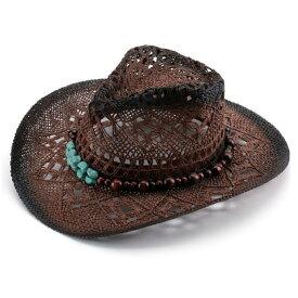 【送料無料!】全3色! [Decorative Beads Belt Western Cowboy Hat] デコラティブ・ビーズ・ベルト・ウェスタン・カウボーイハット! 帽子 テンガロンハット ストローハット 麦わら帽子 つば広 ソンブレロ サンキャップ シンプル 日焼け防止 男女兼用 バイクに! バイカー