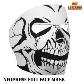 【送料無料!】日本未発売!米国直輸入!セール価格! ホットレザー ブラック&ホワイト スカル ネオプレン リバーシブル フェイスマスク [B/W Skull Neoprene Reversible Face Mask] 黒 日焼け防止 覆面 フルフェイス 防風・防寒 バイクに! サバゲーに!