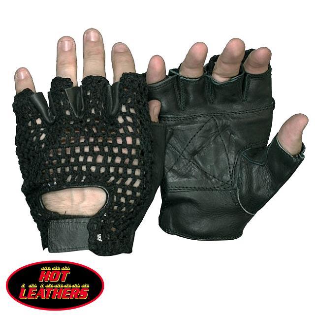 【送料無料!(条件あり)】日本未発売! セール価格! ホットレザー [Fingerless Black Leather Unlined Glove With Mesh] フィンガーレス・ブラック・レザー・アンラインド・グローブ・ウィズ・メッシュ! 本革 牛革 メンズ 手袋 黒 米国直輸入! バイクや自転車での通勤に最適!