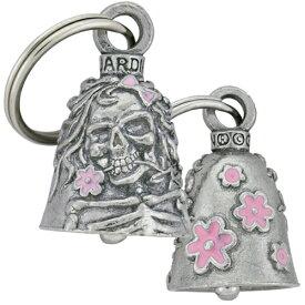米国製 Guardian Bell ホットレザー [Lady Skull] レディースカル ガーディアンベル Made in USA Gremlin Bell 骸骨 花柄 ピンク 魔除け お守りとしてバイカーへの特別なギフトに! バイク オートバイ 鈴 アクセサリー キーホルダー キーチェーン