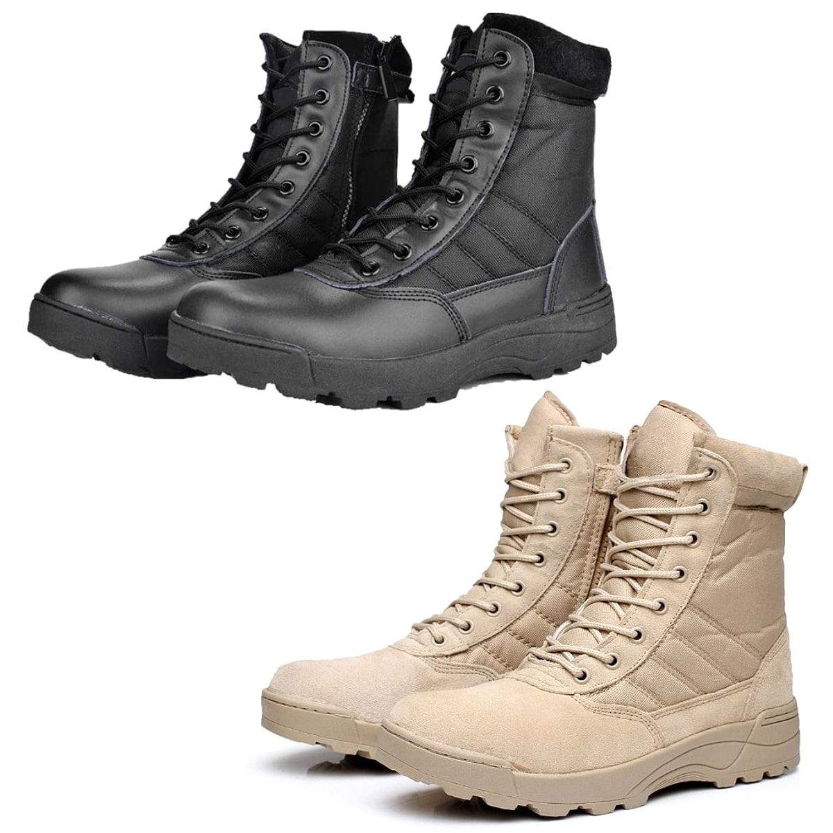【送料無料!】全2色! [Men's Military Leather Combat Tactical Boots] メンズ ミリタリーレザー コンバットタクティカルブーツ! 靴 シューズ スニーカー マウンテンブーツ ミドルブーツ レースアップ 1000Dナイロン 防水 本革 牛革スエード アウトドア サバゲー バイクに!