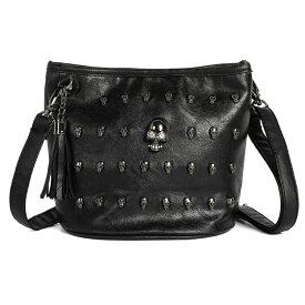 【送料無料!】[Skull Rivet Tassel Handbag] スカル・リベット・タッセル・ハンドバッグ! 骸骨 ガイコツ ブラック 黒 PUレザー ストラップベルト付き ポシェット ショルダーバッグ 斜めがけ クロスボディ スタッズ パンク ゴシック ジッパー バイクに!