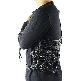 【送料無料!】[PU Leather Skull Rivet Cross Flap Waist Bag] PUレザー・スカル・リベット・クロス・フラップ・ウエスト・バッグ! ブラック 黒 ゴシック パンク スタッズ 十字架 骸骨 バイクに! 何通りもの使い方が可能! レッグバッグ ヒップバッグ ショルダーバッグ