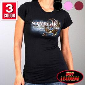 【送料無料!】日本未発売! セール価格! ホットレザー ハーレーの祭典スタージス [Sturgis Motorcycle Rally] 公認 Official 2018モデル 全3色! [Ladies Hoop Eagle T-Shirt] レディース 半袖 アメリカンフープ イーグル Tシャツ! 米国直輸入! 鷲 78th Logo