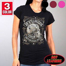 【送料無料!】日本未発売! セール価格! ホットレザー ハーレーの祭典スタージス [Sturgis Motorcycle Rally] 公認 Official 2018モデル 全3色! [Ladies Profile Sugar Skull T-Shirt] レディース 半袖 シュガースカル Tシャツ! 米国直輸入! 78th Logo