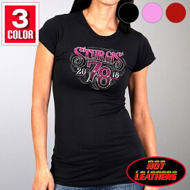 【送料無料!】日本未発売! セール価格! ホットレザー ハーレーの祭典スタージス [Sturgis Motorcycle Rally] 公認 Official 2018モデル 全3色! [Ladies Tattoo Shop T-Shirt] レディース 半袖 タトゥーショップ Tシャツ! 米国直輸入! 78th Logo