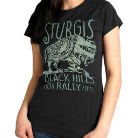 【送料無料!】日本未発売! セール価格! 全3色! ホットレザー ハーレーの祭典スタージス [Sturgis Motorcycle Rally] 公認 Official 2019モデル [Ladies Buffalo Symbol T-Shirt] レディース 半袖 Tシャツ! 米国直輸入! バッファロー プリント バイクに!