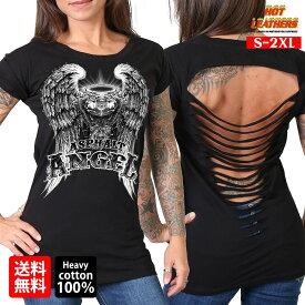 【送料無料!】日本未発売! セール価格! 米国直輸入! ホットレザー [Slit Back Asphalt Angel Ladies T-Shirt] スリットバック アスファルトエンジェル レディース Tシャツ! 半袖 ブラック 黒 翼 コットン 穴開き ウィング プリントT バイクに!