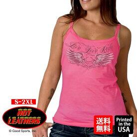 【送料無料!】日本未発売! セール価格! 米国直輸入! ホットレザー [Skull Wings Ladies Tank Top] スカルウィングス レディース タンクトップ! ノースリーブ キャミソール インナー ピンク 骸骨 羽根 翼 Hot Leathers プリント バイクに!