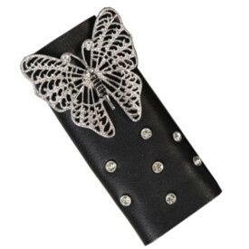 【送料無料!】日本未発売! 米国直輸入! ホットレザー [Genuine Leather Butterfly & Rhinestones Hair Glove] ジェニュインレザー・バタフライ・アンド・ラインストーン・ヘアグローブ! 4インチ 本革! 装着一瞬でバイカースタイルの完成! ヘアアクセサリー