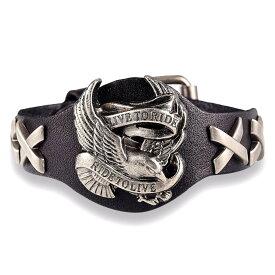 【送料無料!】全3色! 本革 [Ride To Live American Eagle Genuine Leather Bracelet] ライドトゥリブ・アメリカン・イーグル・ジェニュイン・レザー・ブレスレット! バングル バイカーに! 牛革 ブラック ブラウン レッド 鷲 鳥 Live To Ride ベルト メンズ アクセサリー