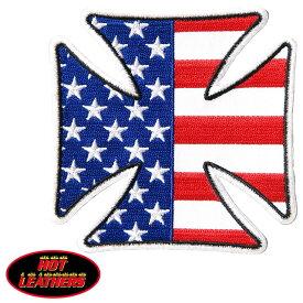【送料無料!】日本未発売! セール価格! ホットレザー [Iron Cross American Flag Patch] アイアンクロス・アメリカンフラッグ ワッペン! 星条旗 パッチ 米国バイカー専門アパレルブランド HOTLEATHERS 直輸入! ウェアのカスタムに! 布製 アイロン対応 サイズ小