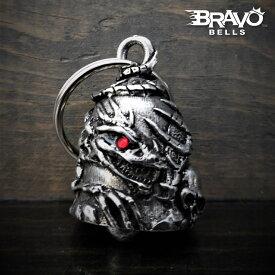 米国製 Bravo Bells スカル 赤目 ドラゴン ベル [Skull Dragon] ブラボーベル Made In USA 魔除け お守りとしてバイカーへの特別なギフトに! バイク オートバイ 鈴 アクセサリー キーホルダー キーチェーン ガーディアンベル Guardian Bell