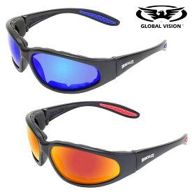 GLOBAL VISION Hercules 1 Plus GT Sunglasses 高強度・高耐久性を誇る! レンズ2色! グローバルビジョン ヘラクレス プラス GT サングラス! ゴーグル マットブラック UV400 ブルー/レッド 飛散防止加工 耐擦傷 折れない ANSI Z87.1 バイクに!