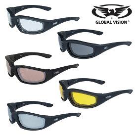 GLOBAL VISION バイク サングラス KickBack Sunglasses 選べるレンズカラー全5色! グローバルビジョン キックバック サングラス! マットブラックフレーム UV400 レンズ クリア/ドライビングミラー/ミラー/スモーク/イエローティント 飛散防止加工 耐擦傷