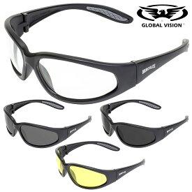 GLOBAL VISION サングラス Hercules 1 Sunglasses 高強度・高耐久性を誇る! レンズ全4色! グローバルビジョン ヘラクレス1 サングラス! ゴーグル ツヤなし マットブラックフレーム UV400 クリア/スモーク ロゴ入り 飛散防止加工 耐擦傷 折れない ANSI Z87.1 バイクに!