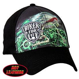 【送料無料!】日本未発売! セール価格! ホットレザー [Skull Cycle Biker For Life Ball Cap] スカル・サイクル・バイカー・フォー・ライフ・ボールキャップ! 骸骨 インディアン ベースボール キャップ 野球帽 帽子 ベルクロ調節 刺繍 米国直輸入! ブラック 黒