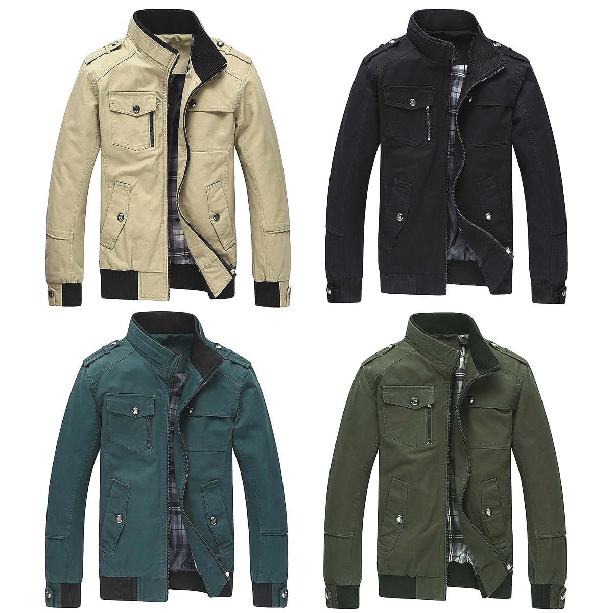【送料無料!】全4色! ビッグサイズも! [Men's Stand Collar Military Jacket] メンズ スタンドカラーミリタリージャケット! フライトボンバージャケット マウンテンパーカー アメカジ アーミー コート リブ袖 ブルゾン ジャンパー 大きいサイズ バイクに!