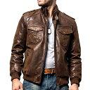 【送料無料!】全2色! 7サイズ! [Men's Pigskin Genuine Leather Motorcycle Jacket] メンズ ピッグスキン ジェニュイ…