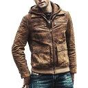 【送料無料!】フード着脱可能! 全10サイズ! [Men's Detachable Hood Brown Pigskin Genuine Leather Jacket] メンズ …