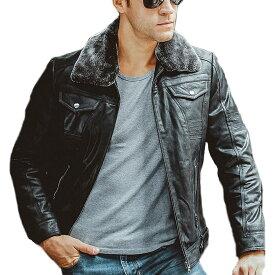 【送料無料!】全3色! 10サイズ! [Men's Pigskin Fur Collar Genuine Leather Riders Jacket] メンズ ピッグスキン ファーカラー ジェニュインレザー ライダースジャケット! 本革 豚革 ボンバージャケット フェイクファー スエード コート ウェスタン アウター バイクに!